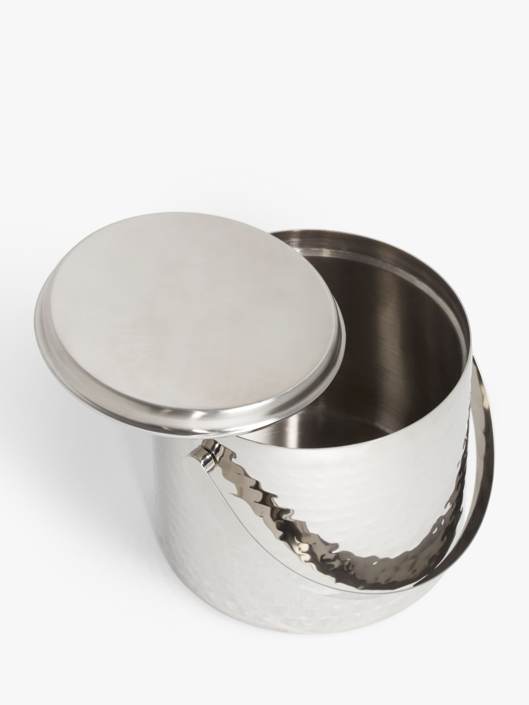 John Lewis Partners Hammered Stainless Steel Ice Bucket Lid Silver At John Lewis Partners
