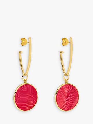 Lola Rose Textured Circle Drop Earrings, Gold/Plum Red