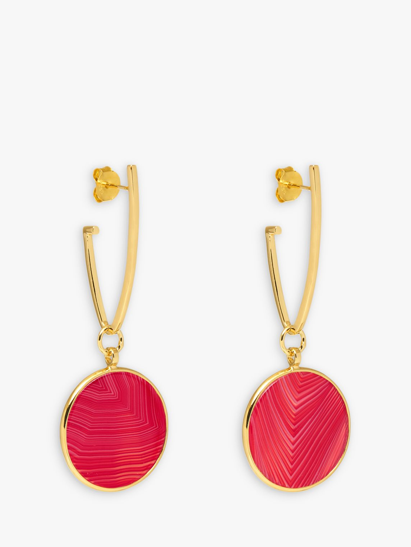 Lola Rose Lola Rose Textured Circle Drop Earrings, Gold/Plum Red