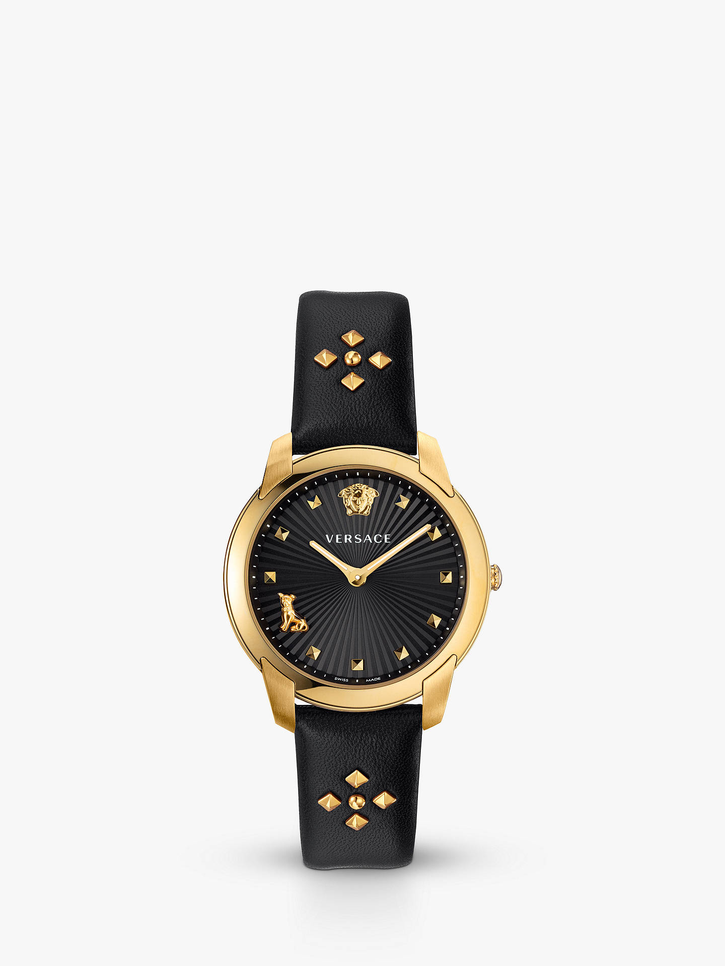 2c5db72a47 Buy Versace VELR00319 Women's Audrey Stud Detail Leather Strap Watch, Black/Gold  Online at