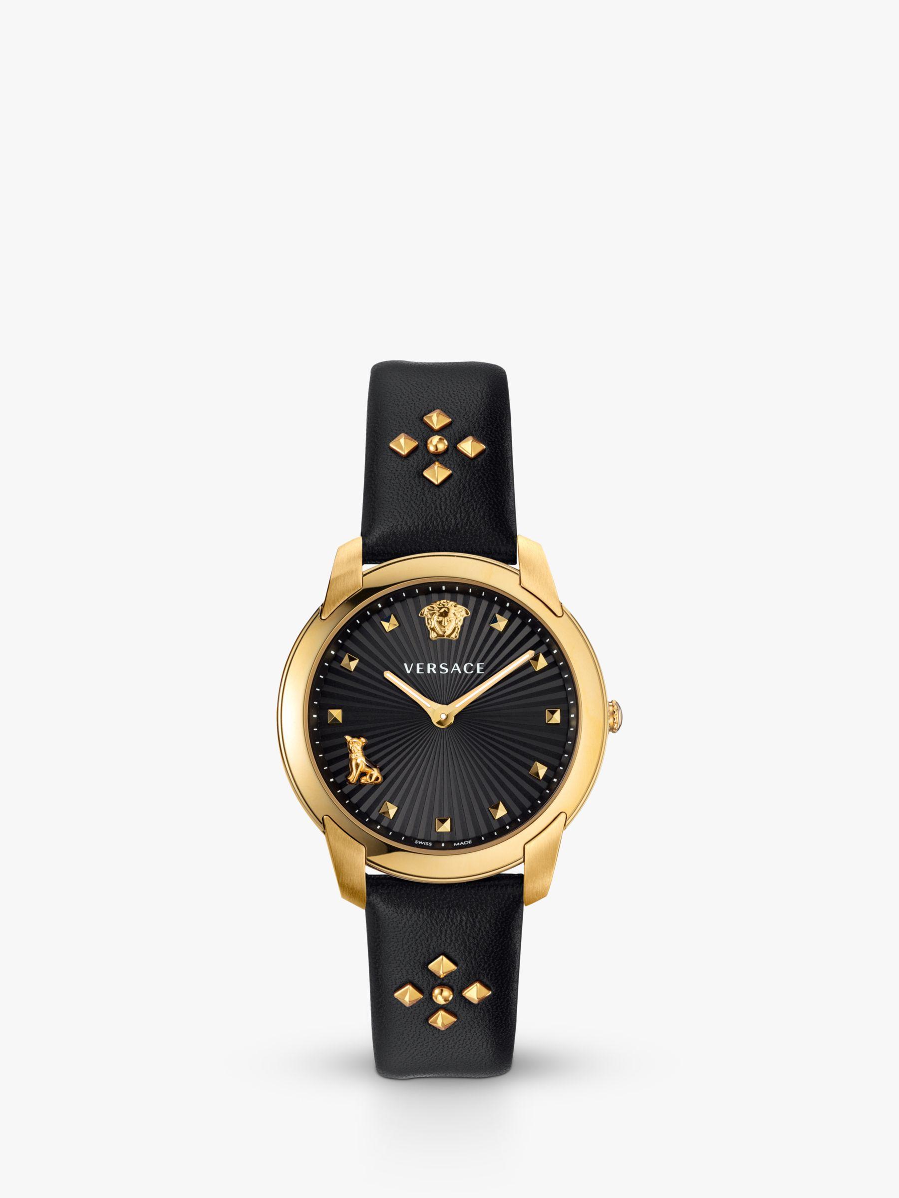 Versace Versace VELR00319 Women's Audrey Stud Detail Leather Strap Watch, Black/Gold