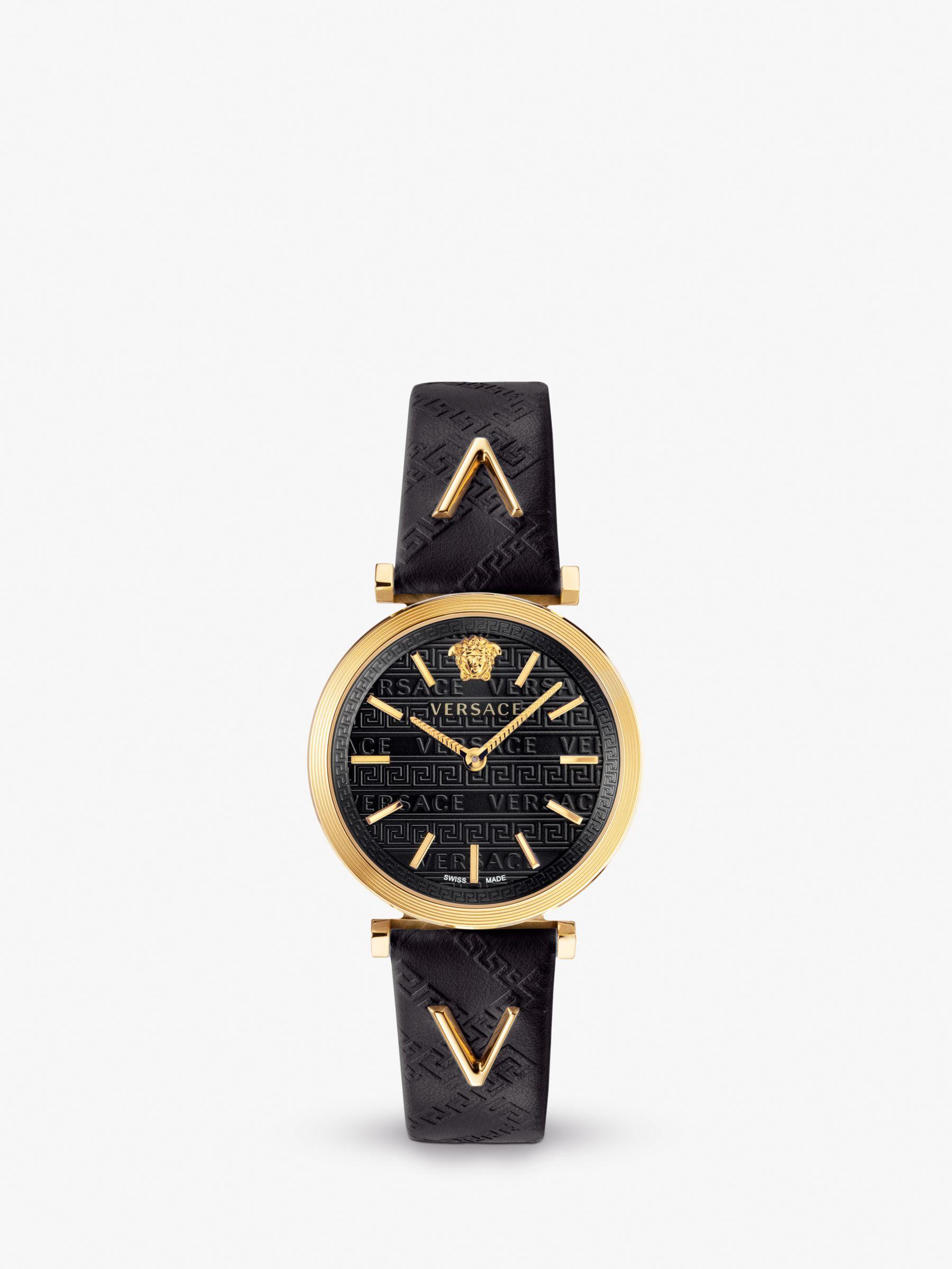 Versace Versace VELS00619 Women's Twist Leather Strap Watch, Black/Gold