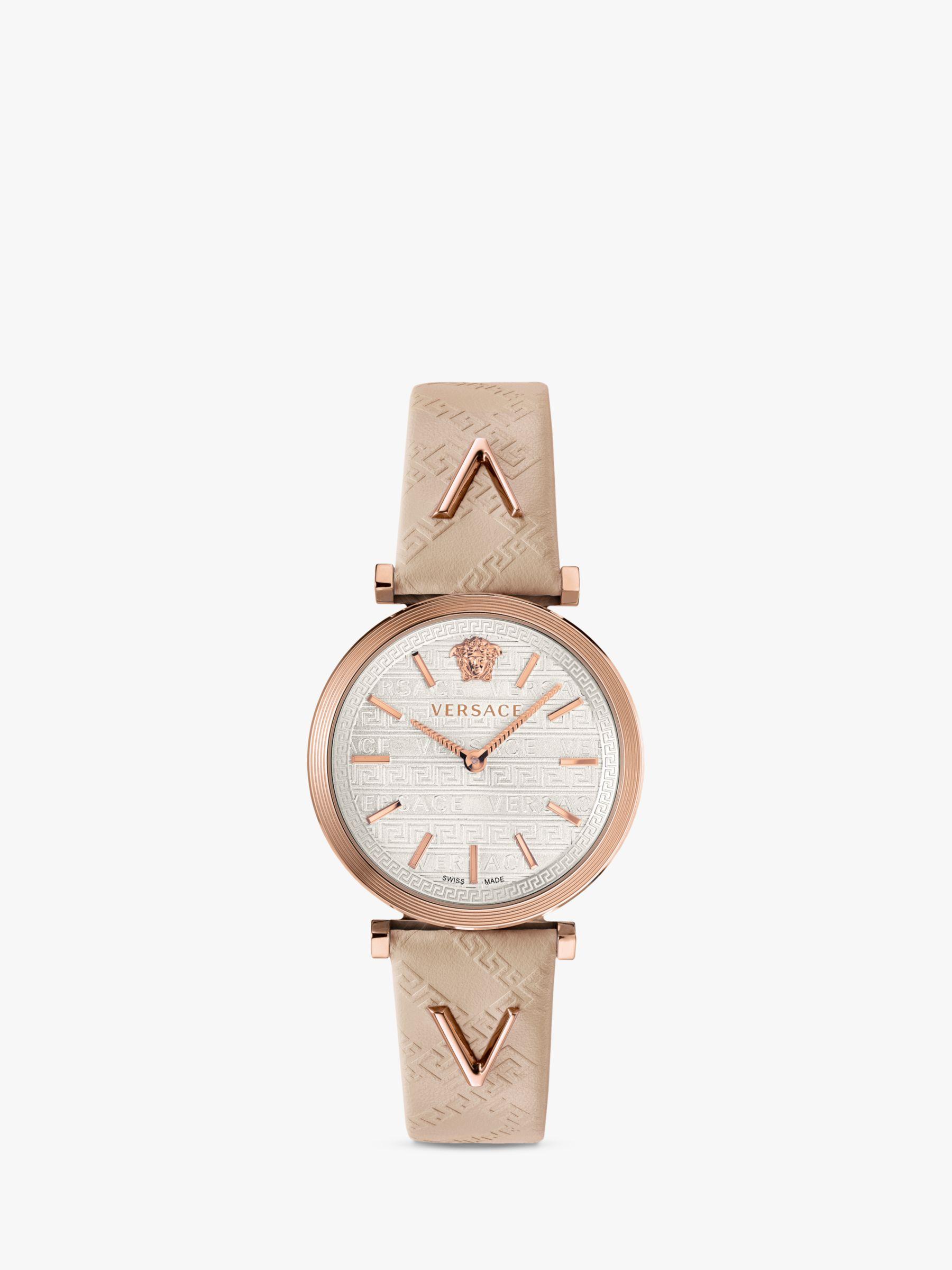 Versace Versace VELS00419 Women's Twist Leather Strap Watch, Greyq