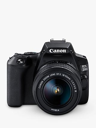 "Canon EOS 250D Digital SLR Camera with 18-55mm f/3.5-5.6 III Lens, 4K Ultra HD, 24.1MP, Wi-Fi, Bluetooth, Optical Viewfinder, 3"" Vari-angle Touch Screen, Black"
