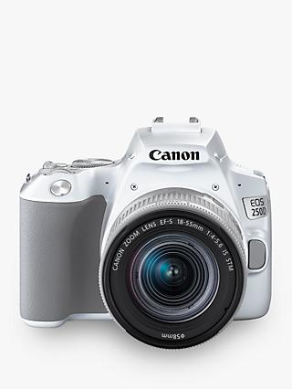 "Canon EOS 250D Digital SLR Camera with 18-55mm f/4-5.6 IS STM Lens, 4K Ultra HD, 24.1MP, Wi-Fi, Bluetooth, Optical Viewfinder, 3"" Vari-angle Touch Screen, White"