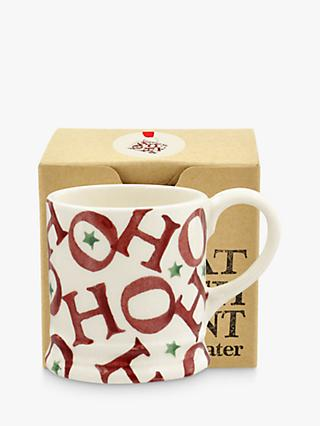 Emma Bridgewater Joy Ho Ho Ho Espresso Mug, White/Red, 48ml