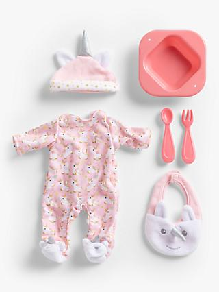 John Lewis & Partners Baby Doll Unicorn Accessory Set