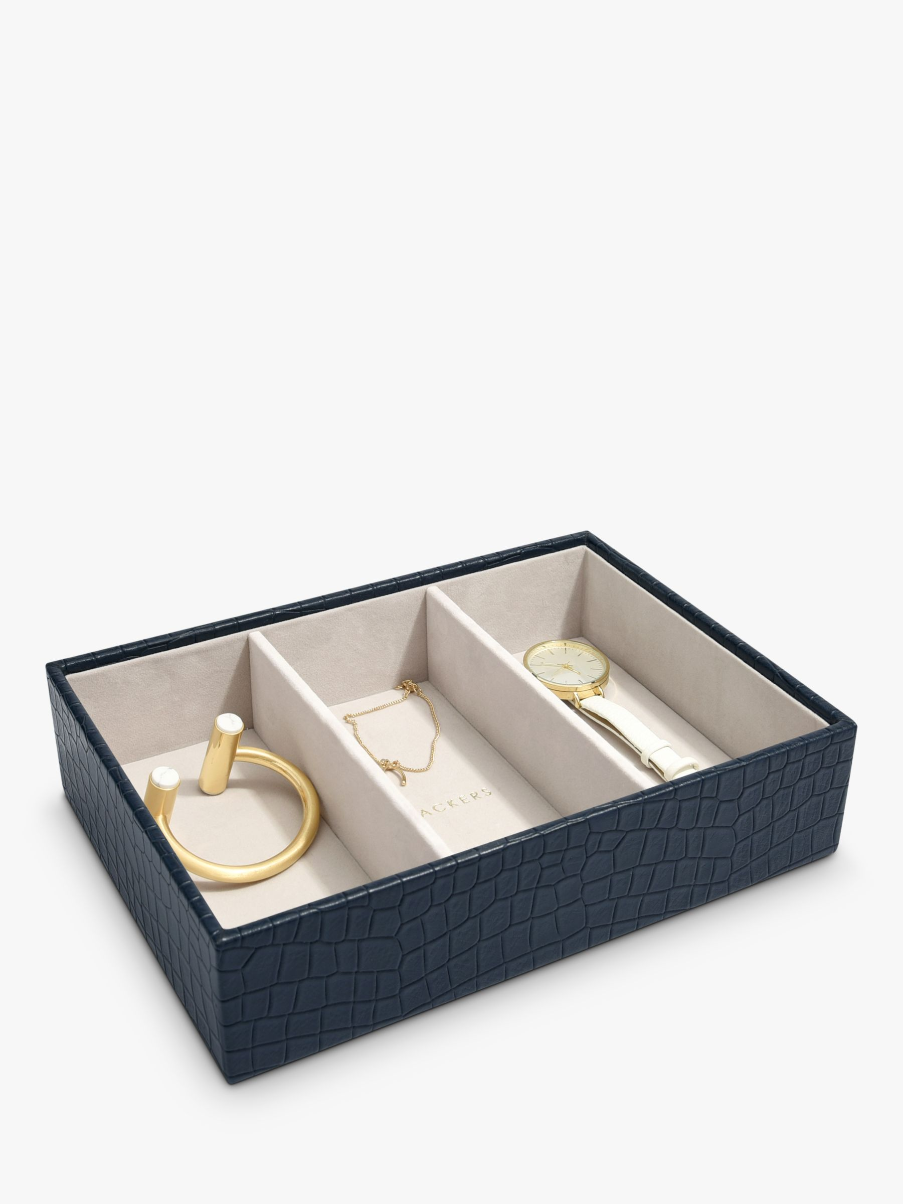 Stackers Stackers Mock Croc Classic 3 Section Jewellery Box, Navy