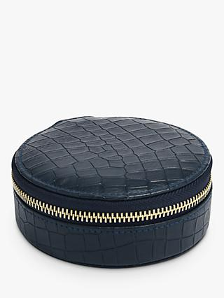 Stackers Mock Croc Round Travel Jewellery Box, Navy