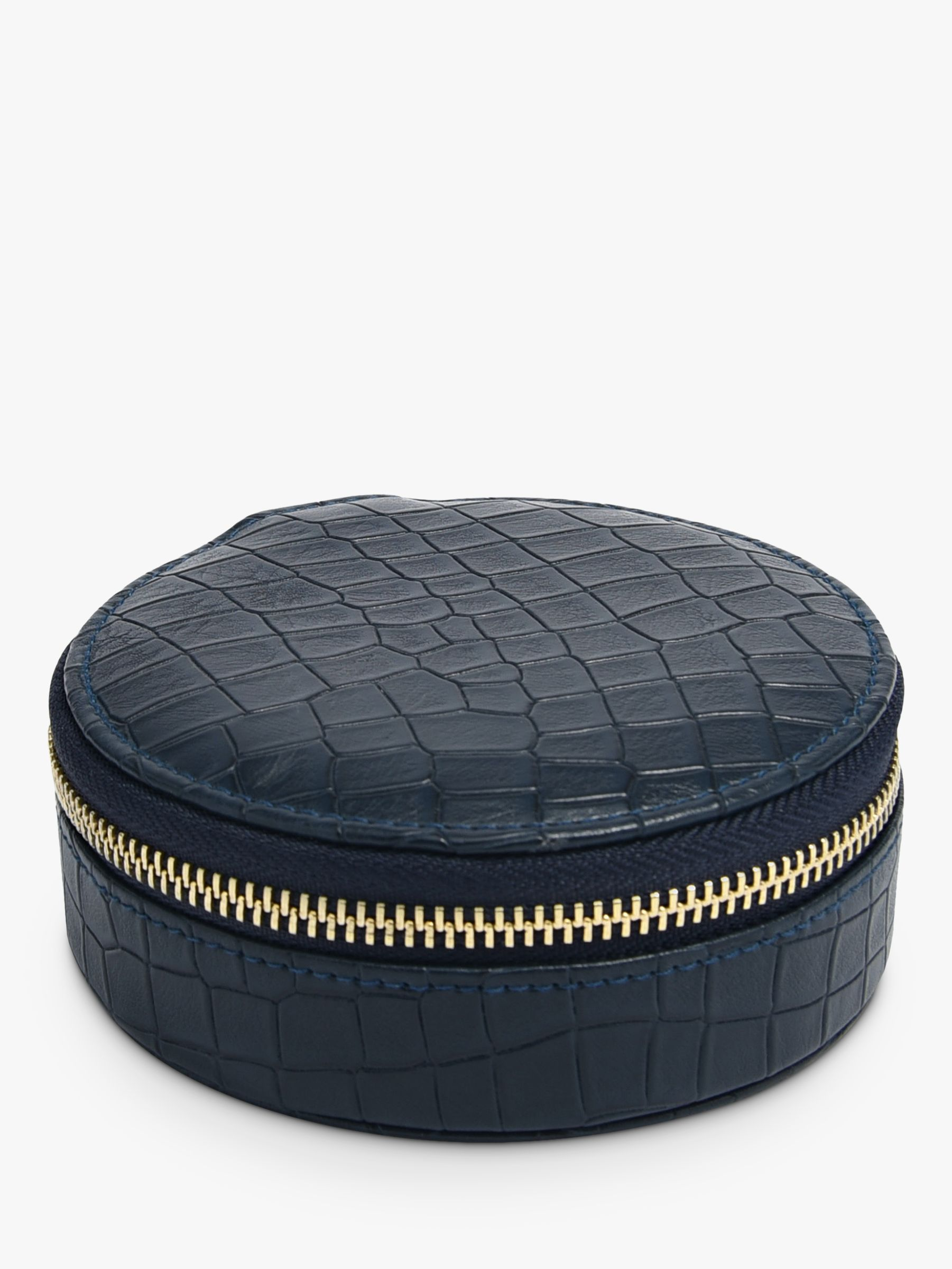Stackers Stackers Mock Croc Round Travel Jewellery Box, Navy
