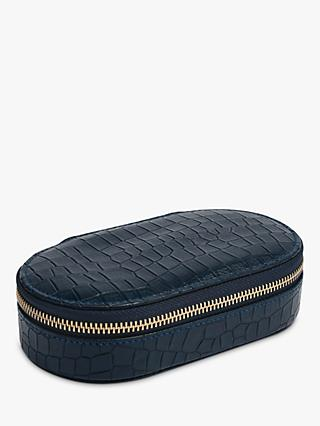 Stackers Mock Croc Oval Travel Jewellery Box, Navy