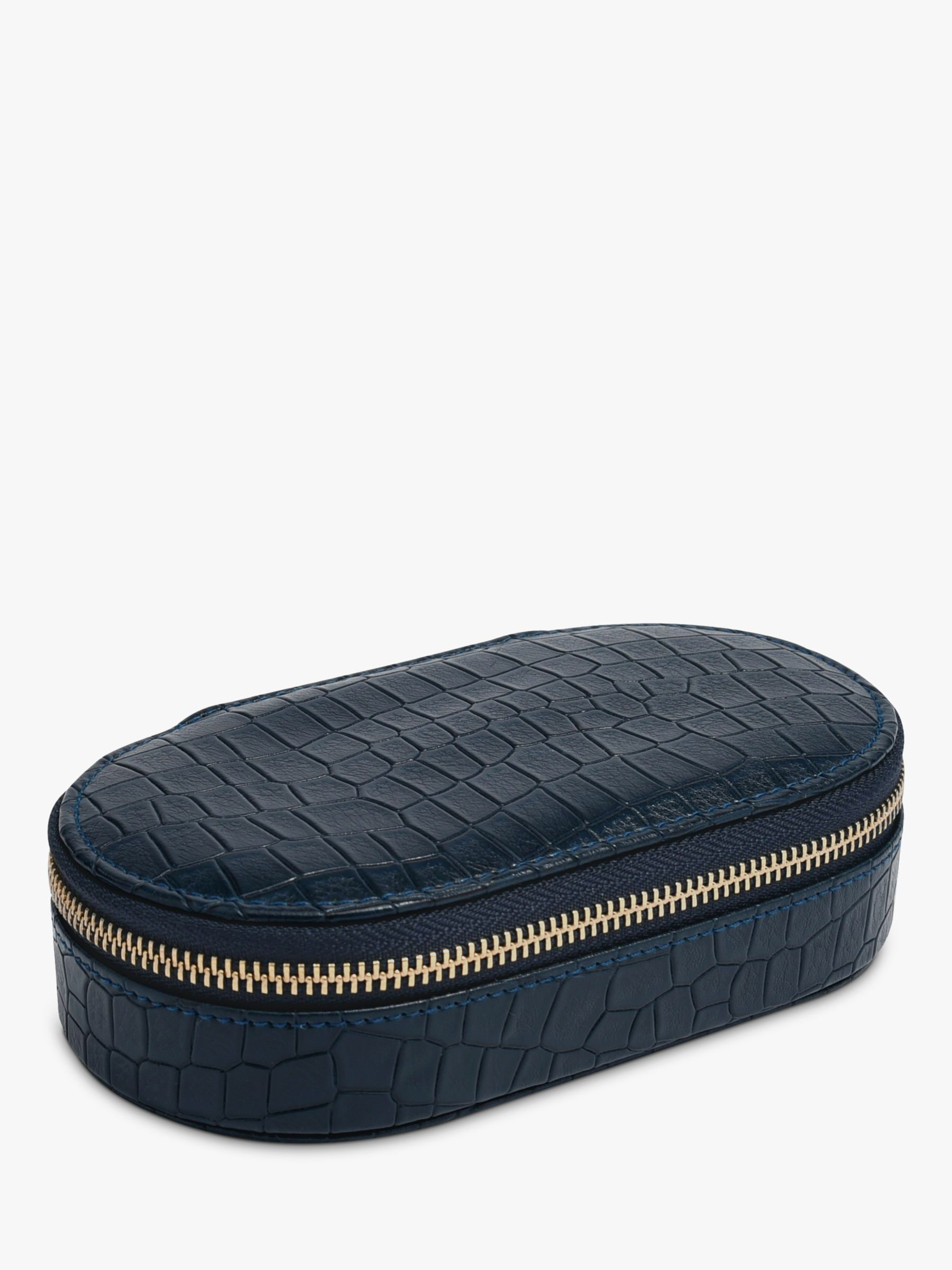 Stackers Stackers Mock Croc Oval Travel Jewellery Box, Navy