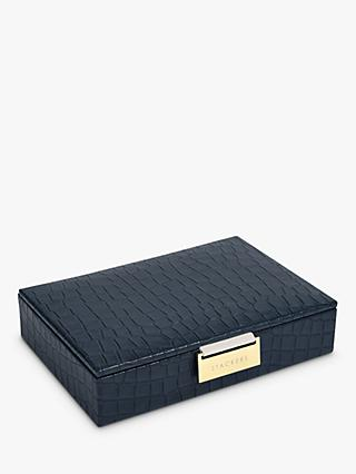 Stackers Mock Croc Mini Lidded Jewellery Box, Navy