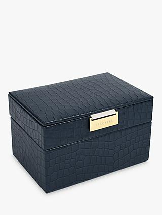 Stackers Mock Croc Mini 2 Set Jewellery Box, Navy