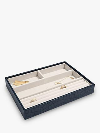Stackers Mock Croc Classic 4 Section Jewellery Box, Navy