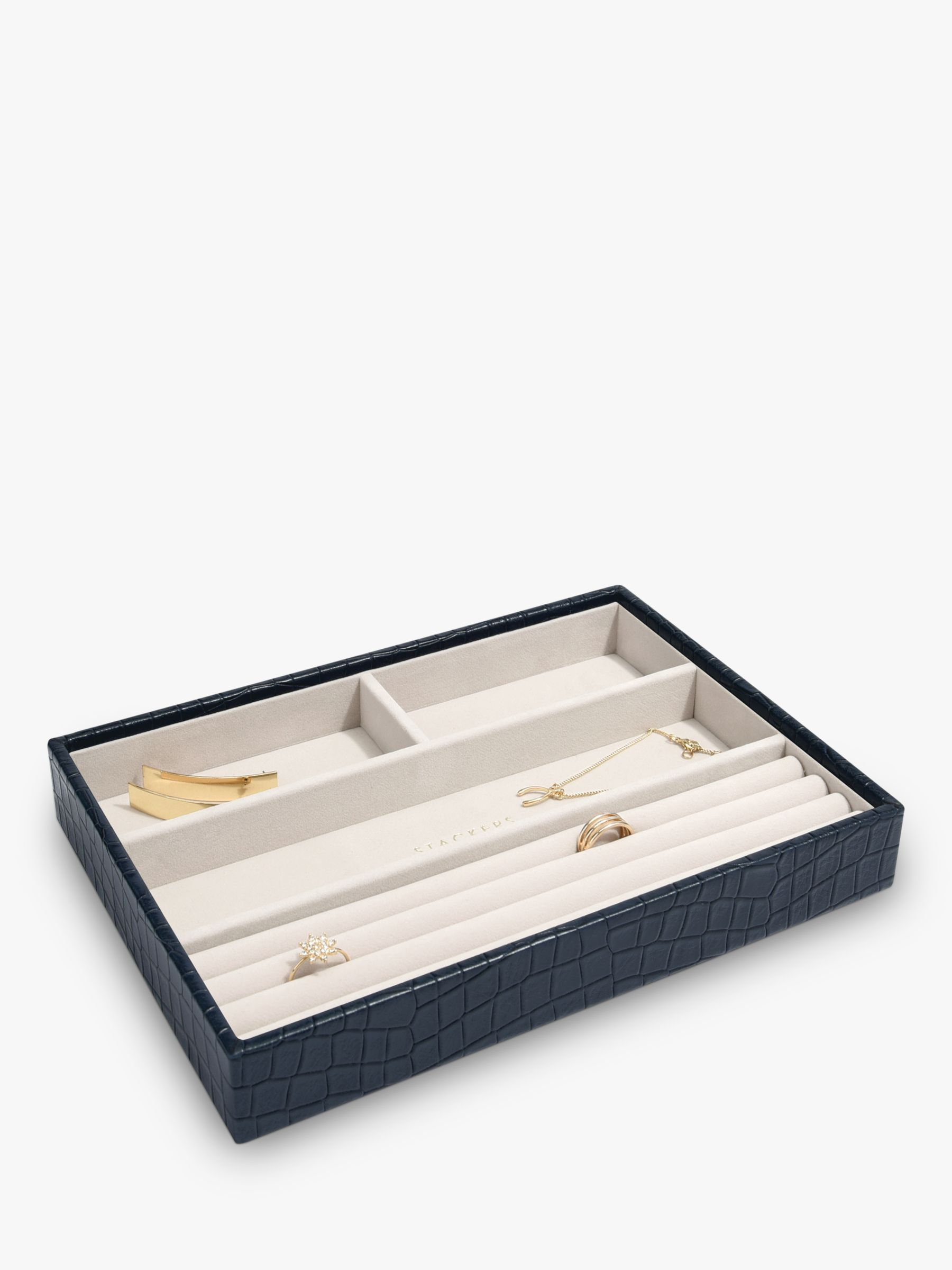 Stackers Stackers Mock Croc Classic 4 Section Jewellery Box, Navy