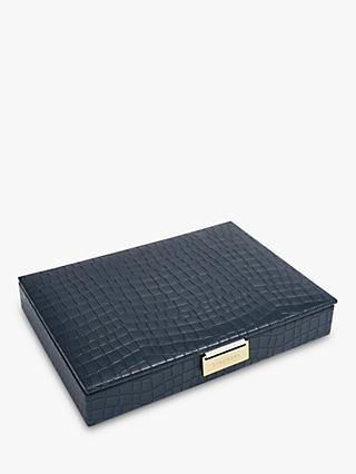 Stackers Mock Croc Classic Lidded Jewellery Box, Navy