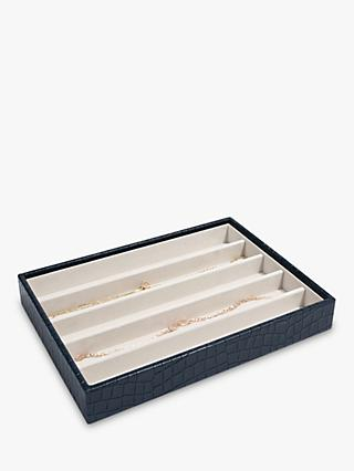 Stackers Mock Croc Classic 5 Section Jewellery Box, Navy