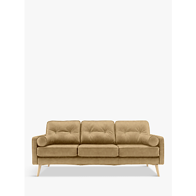Image of G Plan Vintage The Sixty Five Large 3 Seater Leather Sofa, Regent Sand