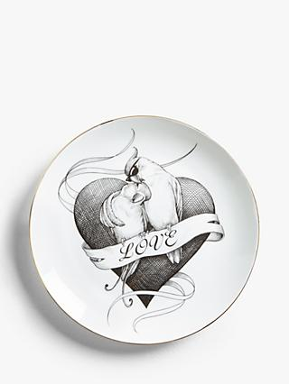 Rory Dobner Heart and Two Birds Plate, Dia.21cm