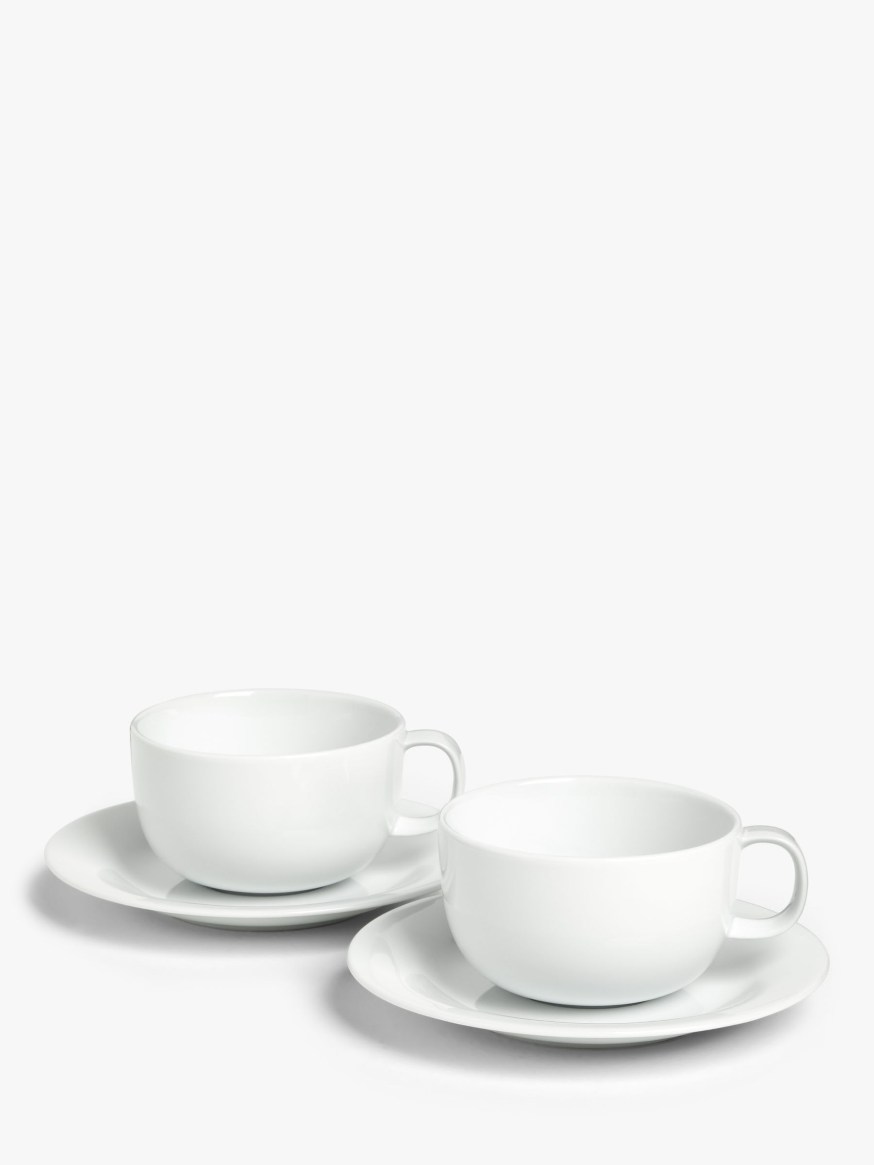 House by John Lewis House by John Lewis Eat Cappuccino Cup & Saucer, Set of 2, White, 370ml