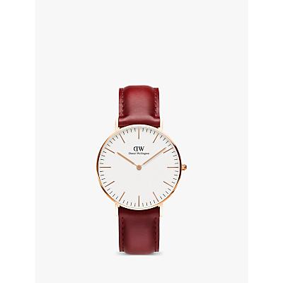 Daniel Wellington DW00100122 Unisex Suffolk Leather Strap Watch, Red/White