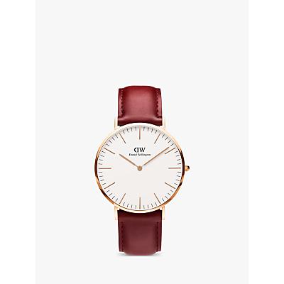 Daniel Wellington DW00100120 Unisex Suffolk Leather Strap Watch, Red/White