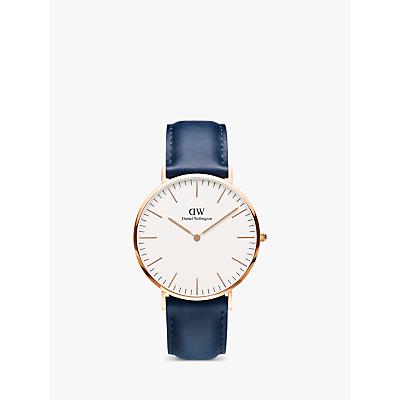 Daniel Wellington DW00100121 Unisex Somerset Leather Strap Watch, Blue/White