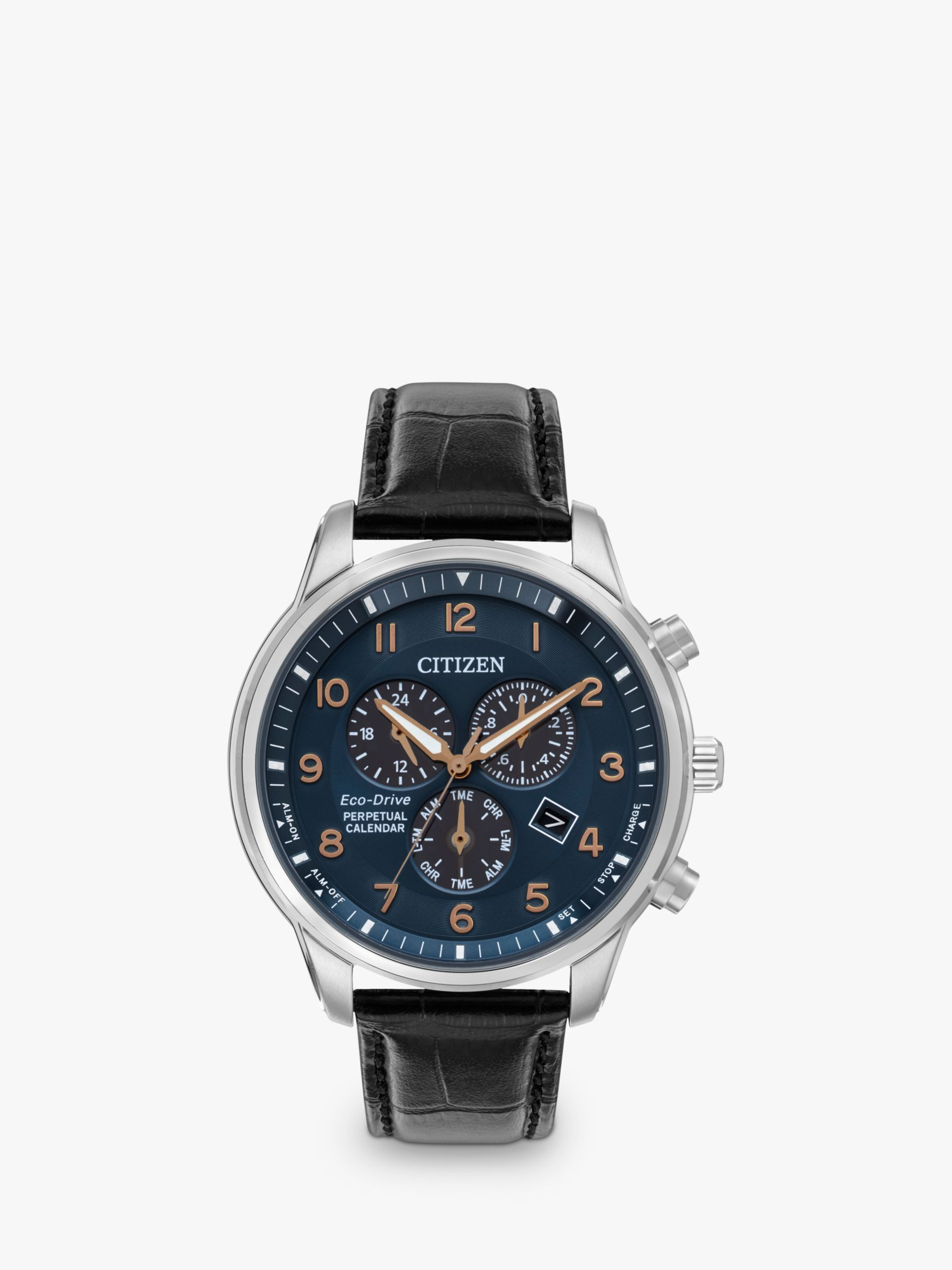 Citizen Citizen BL5421-10L Men's Eco-Drive Chronograph Date Leather Strap Watch, Black/Blue