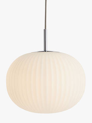 Buy John Lewis & Partners Pleated Glass Globe Ceiling Light, White/Chrome Online at johnlewis.com