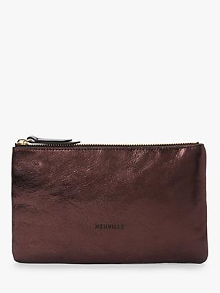 Neuville Terro Leather Midi Pouch Purse, Metal Burgundy