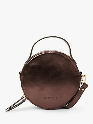 Neuville Oh Circle Leather Cross Body Bag, Metallic Burgundy