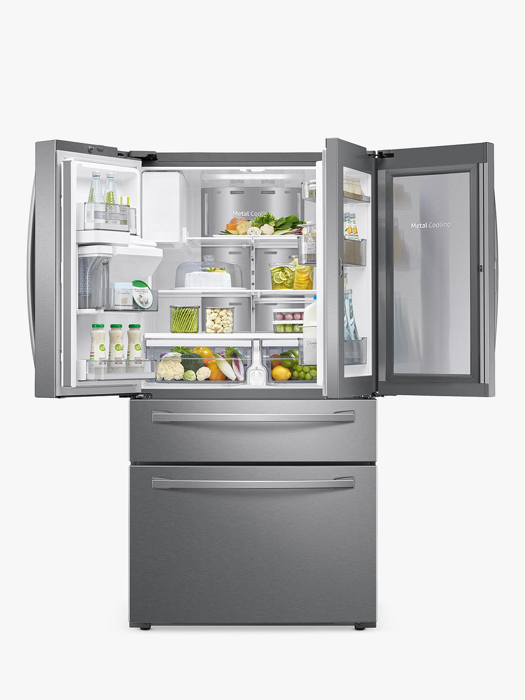 Buy Samsung RF22R7351SR/EU American-Style Freestanding 75/25 Fridge Freezer, A+ Energy Rating, Real Stainless Online at johnlewis.com