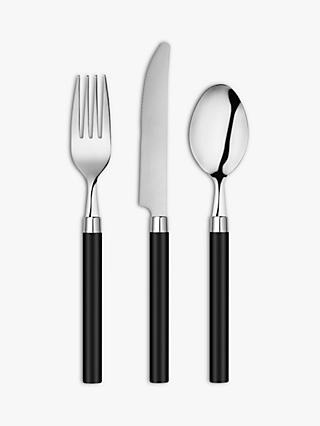 House by John Lewis Black-Handled Cutlery Set, 6 Place Settings