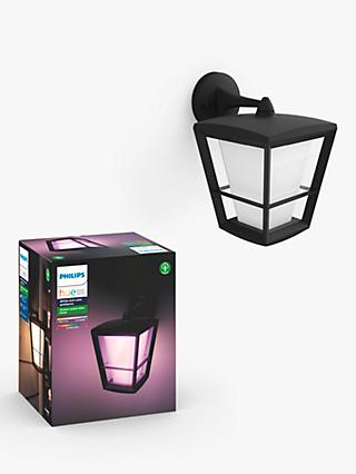 Philips Hue White and Colour Ambiance Econic LED Outdoor Wall Lantern, Black