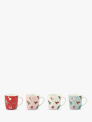 Cath Kidston Christmas Audrey Mugs, Set of 4, 350ml, Assorted
