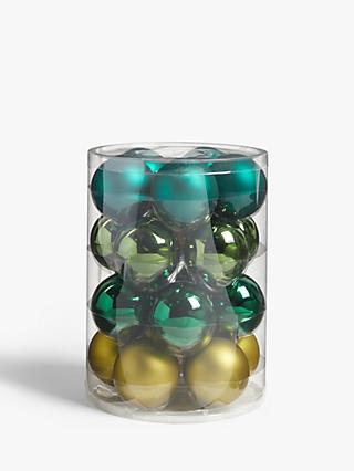 John Lewis & Partners Garden Retreat Assorted Baubles, Tub of 20, Green