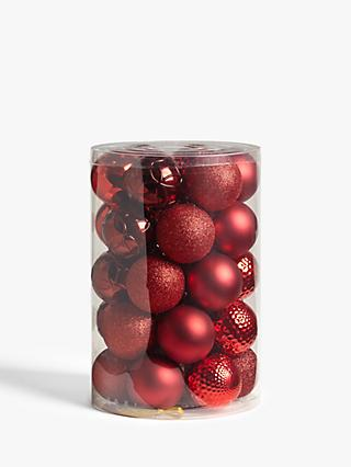 John Lewis & Partners Traditions Assorted Shatterproof Baubles, Tub of 30, Red