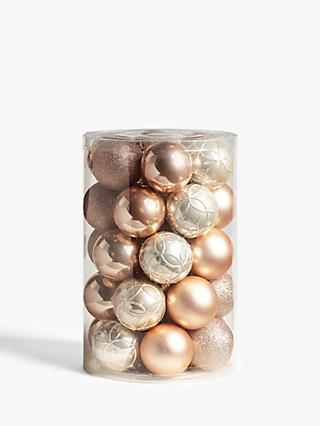 John Lewis & Partners Sanctuary Assorted Shatterproof Baubles, Tub of 30, Champagne