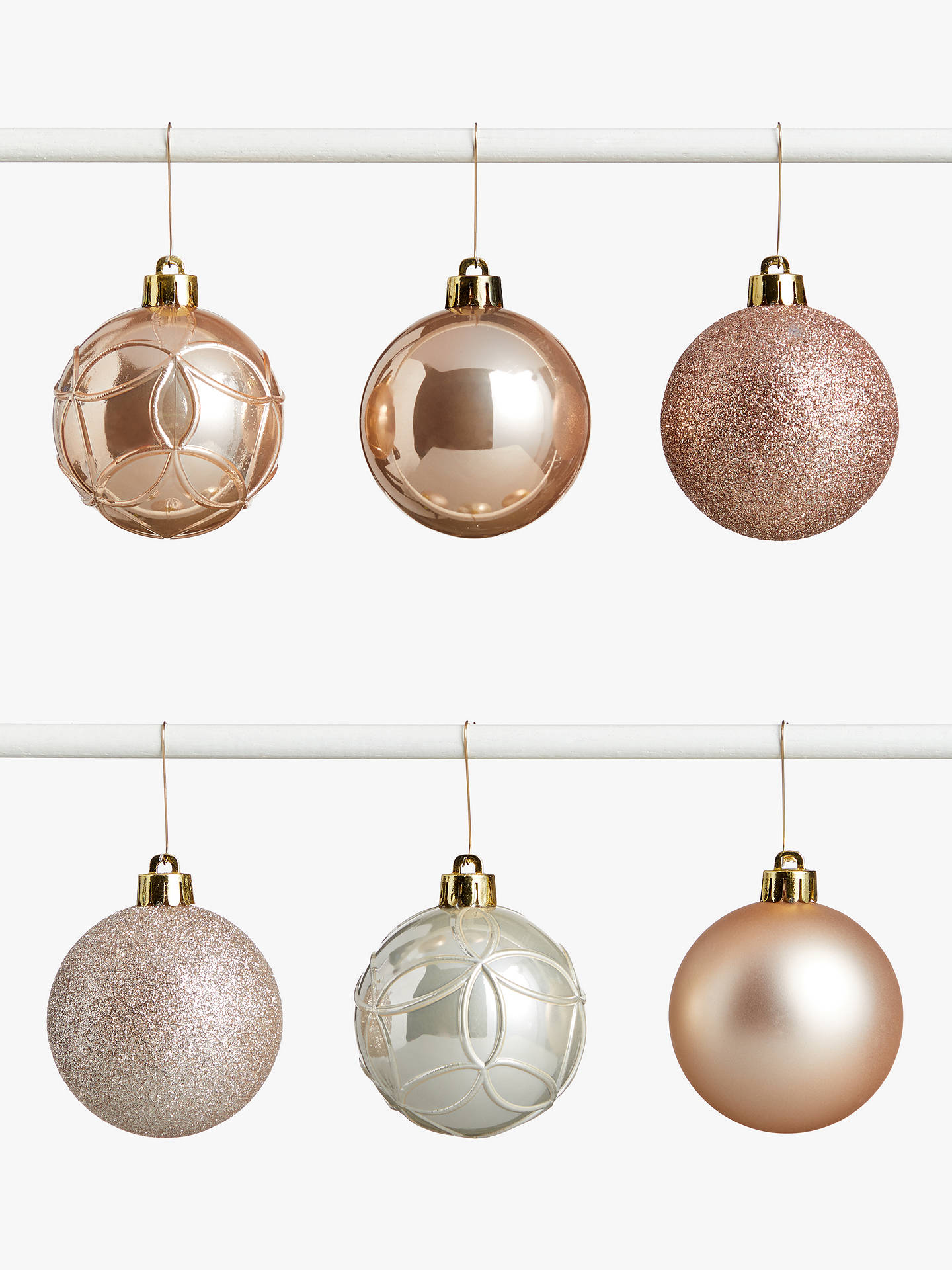 Buy John Lewis & Partners Sanctuary Assorted Shatterproof Baubles, Tub of 30, Champagne Online at johnlewis.com
