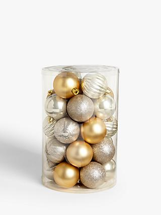 John Lewis & Partners Garden Retreat Assorted Shatterproof Baubles, Tub of 30, Gold