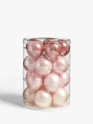 John Lewis & Partners Sanctuary Assorted Baubles, Tub of 20, Champagne / Blush