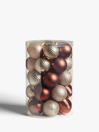 John Lewis & Partners Campfire Assorted Shatterproof Baubles, Tub of 30, Bronze