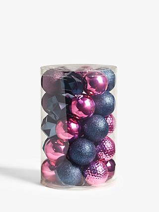 John Lewis & Partners Party Assorted Shatterproof Baubles, Tub of 30, Pink / Violet