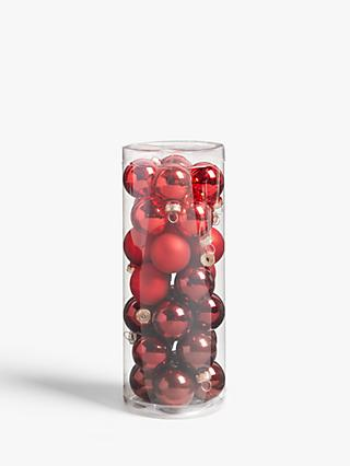 John Lewis & Partners Traditions Assorted Mini Baubles, Tub of 28, Red