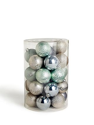 John Lewis & Partners Snowscape Assorted Shatterproof Baubles, Tub of 30, Silver / Green