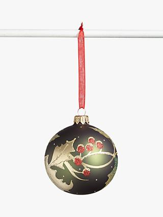 John Lewis & Partners Traditions Holly Berry Bauble, Green