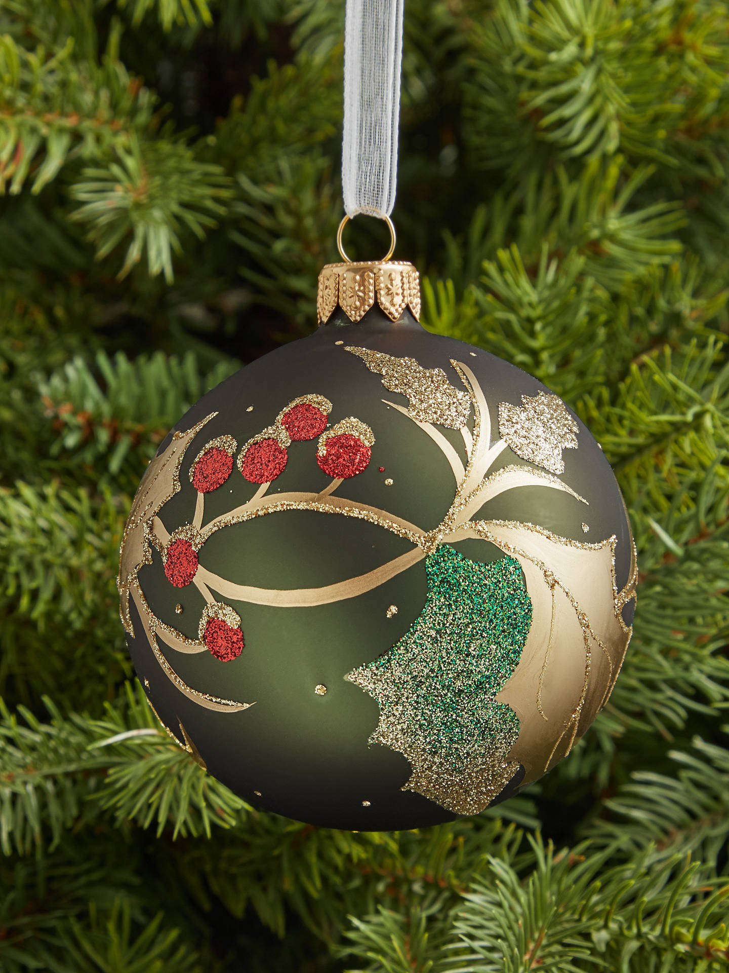 Buy John Lewis & Partners Traditions Holly Berry Bauble, Green Online at johnlewis.com