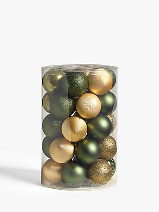 John Lewis & Partners Garden Retreat Assorted Shatterproof Baubles, Tub of 30, Green