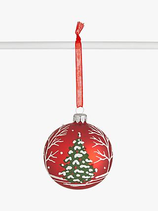 John Lewis & Partners Traditions Deco Christmas Tree Bauble, Red